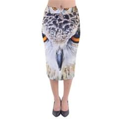 Owl Face Velvet Midi Pencil Skirt