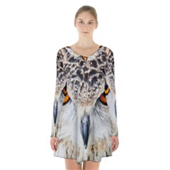 Owl Face Long Sleeve Velvet V Neck Dress
