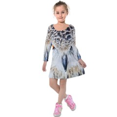 Owl Face Kids  Long Sleeve Velvet Dress