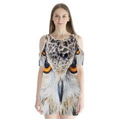 Owl Face Shoulder Cutout Velvet  One Piece