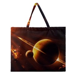 Planets Space Zipper Large Tote Bag