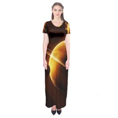 Planets Space Short Sleeve Maxi Dress