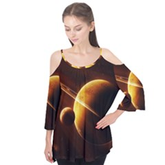 Planets Space Flutter Tees