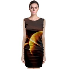 Planets Space Sleeveless Velvet Midi Dress