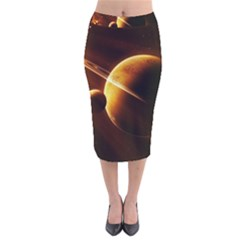 Planets Space Velvet Midi Pencil Skirt
