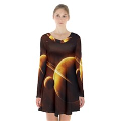 Planets Space Long Sleeve Velvet V Neck Dress