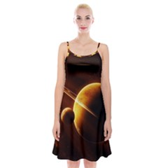 Planets Space Spaghetti Strap Velvet Dress