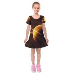 Planets Space Kids  Short Sleeve Velvet Dress