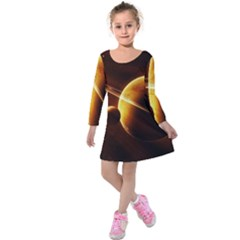 Planets Space Kids  Long Sleeve Velvet Dress