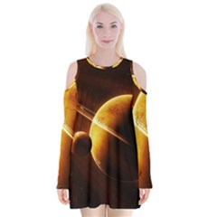 Planets Space Velvet Long Sleeve Shoulder Cutout Dress
