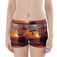 Pirate Ship Boyleg Bikini Wrap Bottoms