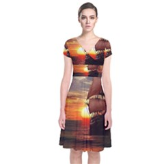 Pirate Ship Short Sleeve Front Wrap Dress