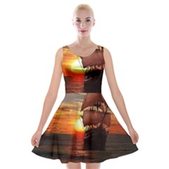 Pirate Ship Velvet Skater Dress