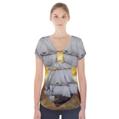 Pirate Ship Short Sleeve Front Detail Top