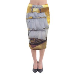 Pirate Ship Velvet Midi Pencil Skirt