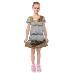 Pirate Ship Kids  Short Sleeve Velvet Dress
