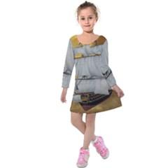 Pirate Ship Kids  Long Sleeve Velvet Dress