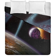 Planets In Space Duvet Cover Double Side (california King Size)