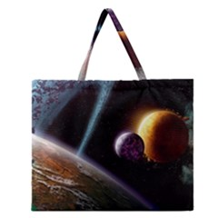 Planets In Space Zipper Large Tote Bag
