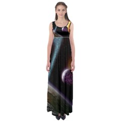 Planets In Space Empire Waist Maxi Dress