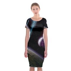 Planets In Space Classic Short Sleeve Midi Dress
