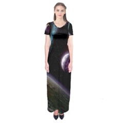 Planets In Space Short Sleeve Maxi Dress