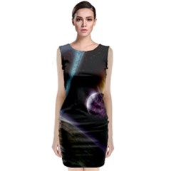 Planets In Space Sleeveless Velvet Midi Dress