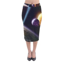 Planets In Space Velvet Midi Pencil Skirt