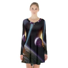 Planets In Space Long Sleeve Velvet V Neck Dress
