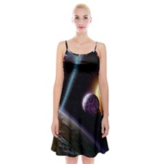 Planets In Space Spaghetti Strap Velvet Dress