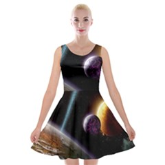 Planets In Space Velvet Skater Dress