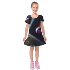 Planets In Space Kids  Short Sleeve Velvet Dress