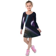 Planets In Space Kids  Long Sleeve Velvet Dress