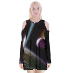 Planets In Space Velvet Long Sleeve Shoulder Cutout Dress