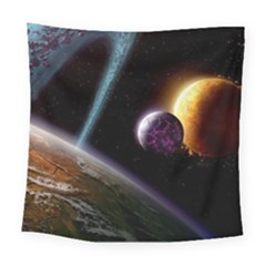Planets In Space Square Tapestry (large)