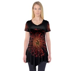 Red Flower Blooming In The Dark Short Sleeve Tunic