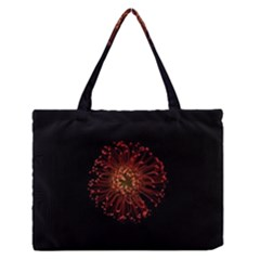 Red Flower Blooming In The Dark Medium Zipper Tote Bag