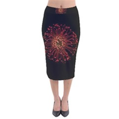 Red Flower Blooming In The Dark Velvet Midi Pencil Skirt