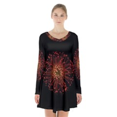 Red Flower Blooming In The Dark Long Sleeve Velvet V Neck Dress