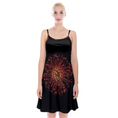 Red Flower Blooming In The Dark Spaghetti Strap Velvet Dress