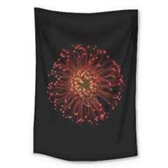 Red Flower Blooming In The Dark Large Tapestry