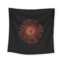 Red Flower Blooming In The Dark Square Tapestry (Small)