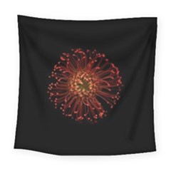 Red Flower Blooming In The Dark Square Tapestry (Large)
