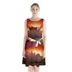 Red Fantasy Sleeveless Chiffon Waist Tie Dress