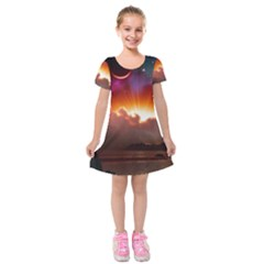 Red Fantasy Kids  Short Sleeve Velvet Dress