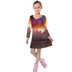 Red Fantasy Kids  Long Sleeve Velvet Dress