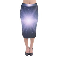 Real Photographs In Saturns Rings Velvet Midi Pencil Skirt