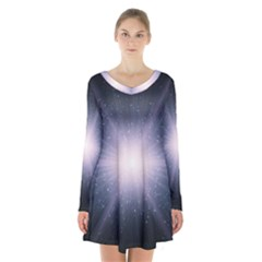 Real Photographs In Saturns Rings Long Sleeve Velvet V Neck Dress