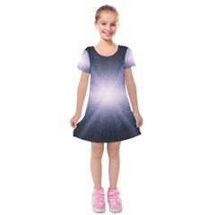 Real Photographs In Saturns Rings Kids  Short Sleeve Velvet Dress