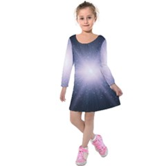 Real Photographs In Saturns Rings Kids  Long Sleeve Velvet Dress